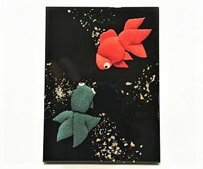 小さな板絵 金魚