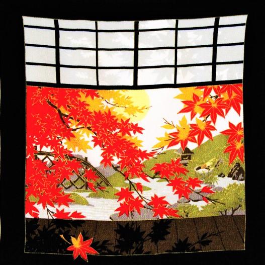 秋 レーヨン中巾 いろどり月 クロ